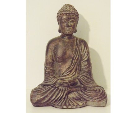 P1035511 Poly. Zittende Japanse boeddha dark-gold. Hoogte : 22 cm.