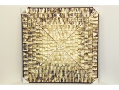 T40051S9 Wanddecoratie. Gold blocks abstract. 90 x 90 cm.