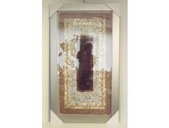 T38528A Wanddecoratie. Geweven kleed op linnen achtergrond achter glas. Liggend of staand op te hangen. 140 x 80 cm.