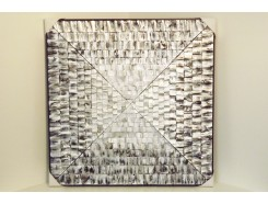 T39465 Wanddecoratie. Silver blocks abstract. 90 x 90 cm.