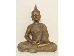 P1035538 Poly. Thai buddha zittend brons XL. H x B : 57 x 47 cm.