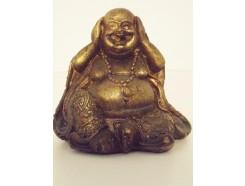 """P1035555A Poly. Boeddha lucky """"horen"""" brons mini"""