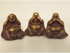 P1035555ABC Poly. Boeddha lucky horen-zien-zwijgen brons mini