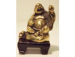 5510002 Brons. Bronzen lucky boeddha op houten voetje 6 cm. hoog.