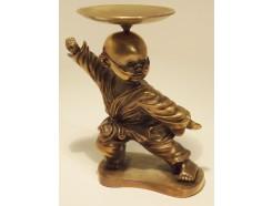 5510014 Brons. Bronzen monnik met bril in positie met bakje 11 cm. hoog.