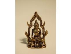 5582003 Brons. Bronzen boeddha met achtergrond hoogte 3,5 cm.