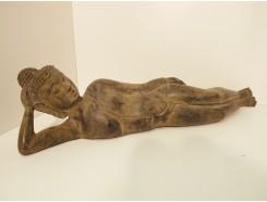 0130015 brons liggende boeddha. Lengte : 67 cm.