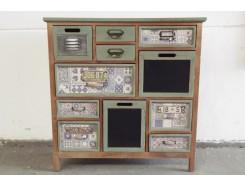 17PJ1156 Meubel. Vintage-look houten kastje 85 x 32 x 86 cm. met 11 laatjes groen/krijt.