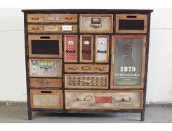 17PJ1187N Meubel. Vintage-look zwart-bruin ladenkastje met deurtje en 14 lades L x B x H : 111 x 32 x 100 cm.
