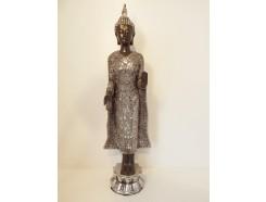 P1035289 Poly. Staande Thai boeddha. Zwart-zilver. Hoogte : 48 cm.