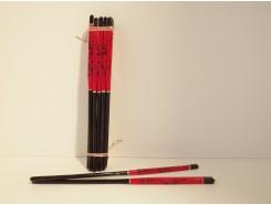 2418009 Eetstokjes rood/zwart. Bundel van 10 paar.