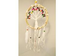 8530077C Dreamcatcher. Tree of life dreamcatcher 16 cm. met rieten rand en gekleurde kralen.
