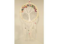8530078C Dreamcatcher. Klassieke tree of life dreamcatcher met rieten rand en gekleurde houten kralen diameter 25 cm.