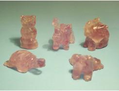 4107200L Edelsteen. Set van 5 amethist beestjes +/- 4 cm. Kikker, olifant, schildpad, uil en zittende olifant.