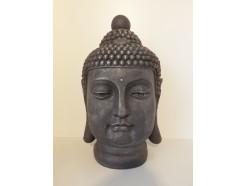 G400M-AS Garden hoofd boeddha Birma. Hoogte 51 cm. Antique silver.
