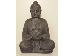 "G1058L-AS Garden boeddha ""lotus"". Hoogte 62 cm. Antique Silver."