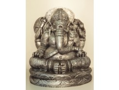 G1539-AS Garden Ganesha XL. H x B : 65 x 54 cm. Antique Silver.