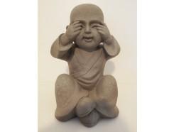"G1673-G Garden kindmonnik ""zien"". Hoogte 30 cm. Granite."