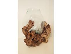 H2030305 Balinees teakhouten boomstronk met individueel geblazen glazen vaas. +/- 40-50 cm.