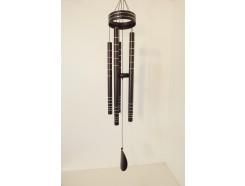 8462060 Gong. Zwarte gong met zilveren ringen en 5 gestemde pijpen met ronde klepel. Lengte : 100 cm.