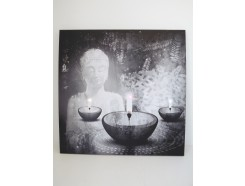 9430103 schilderij met led-licht boeddha met chinese tekens 60 x60 cm. 40 % korting.