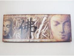 HP012 wandpaneel 2 hoofden boeddha. 50 x 20 cm. 40 % korting.