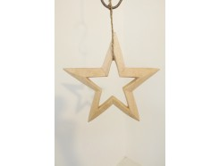 H2030313 Wood. Wooden 3-d star lightcoloured wood with open center. Diameter : 25 cm.