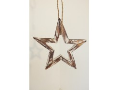 H2030316 Wood. Wooden 3-d star white wash with open center. Diameter : 15 cm.