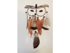 8530093 Dreamcatcher. Dreamcatcher brown owl two eyes. Length : 41 cm width : 12 cm.