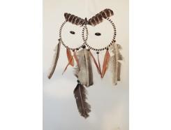 8530094 Dreamcatcher. Dreamcatcher brown owl 2 eyes. Length 48 cm width : 25 cm.