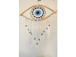 8530096 Dreamcatcher. Dreamcatcher knitted blue eye. Length : 70 cm.