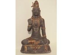 P1038-3 Poly. Boeddha Abhayamudra Asian gold. Hoogte : 70 cm.