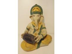 P1035349 Poly. Color Ganesha met houten drum op schoot. Hoogte 29 cm.
