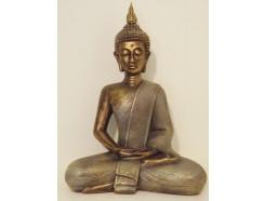 P1035557 Poly. Thai boeddha Large bronskleurig. Hoogte 42 cm.