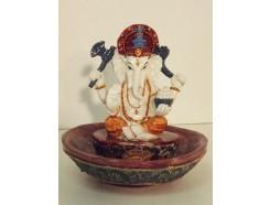 P1035353 Poly. Coloured ganesha incense holder diameter 10 cm.