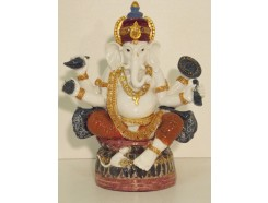 P1035354 Poly. Coloured sitting ganesh. Height : 18 cm.