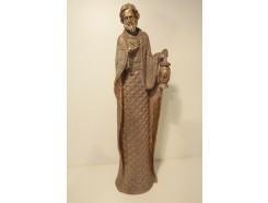 P1035789 Poly. Religieus goudkleurige statige Jozef 52 cm.