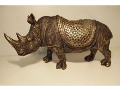 P1035656 Poly. Gouden neushoorn met dekkleed LxH : 31 x 17 cm.