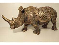 P1035657 Poly. Gouden XL neushoorn met dekkleed. L x H : 53 x 24 cm.