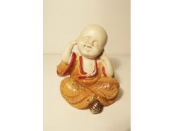 """P1035820A Poly. Baby monk """"horen"""" geel. Hoogte 10 cm."""