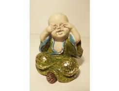 """P1035820B Poly. Baby monk """"zien"""" groen. Hoogte : 10 cm."""