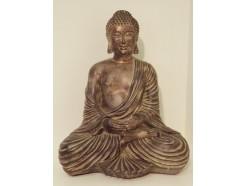 P1035508 Poly. Japanse zittende boeddha dark gold. Hoogte : 40 cm.
