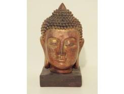 P1035509 Poly. Hoofd Thai boeddha op sokkel dark gold. Hoogte : 18 cm.