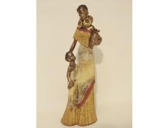 P1035130 Poly. Afrkaanse dame met klein kind. Hoogte : 48 cm.