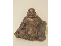P1035506 Poly. Zittende dikbuik boeddha dark-gold. Hoogte 20 cm.