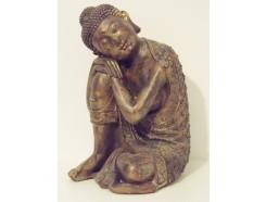P1035514 Poly. Slapende japanse boeddha dark-gold large. Hoogte : 36 cm.