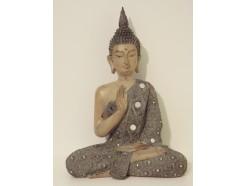 P1035803 Poly. Zittende Thai boeddha large groen-blauw met spiegeltjes. Hoogte : 39 cm.