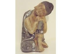 P1035804 Poly. Slapende japanse boeddha groen-blauw met spiegeltjes. Hoogte : 23 cm.