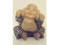 """P1035806A Poly. Dikbuik boeddha """"horen"""" groen-blauw met spiegeltjes. Hoogte : 13 cm."""