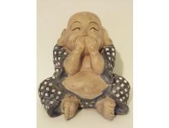 """P1035806C Poly. Dikbuik boeddha """"zwijgen"""" groen-blauw met spiegeltjes. Hoogte : 13 cm."""